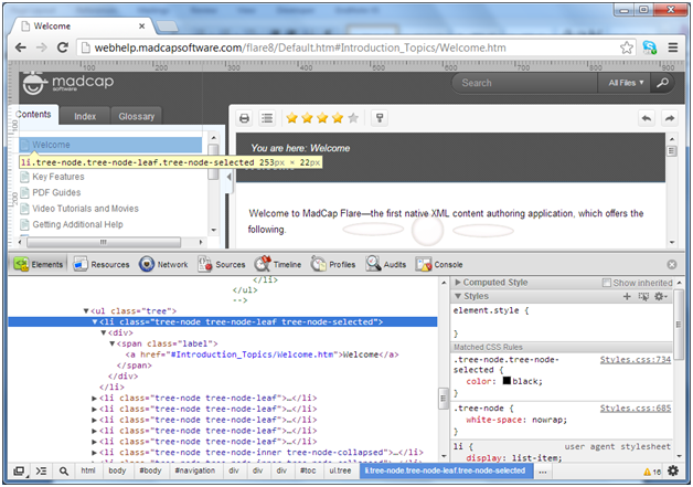 TOC tree node in Google Chrome